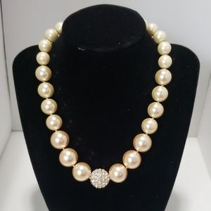 《Charter Club》NEW Glass Pearl Necklace Peach Gold